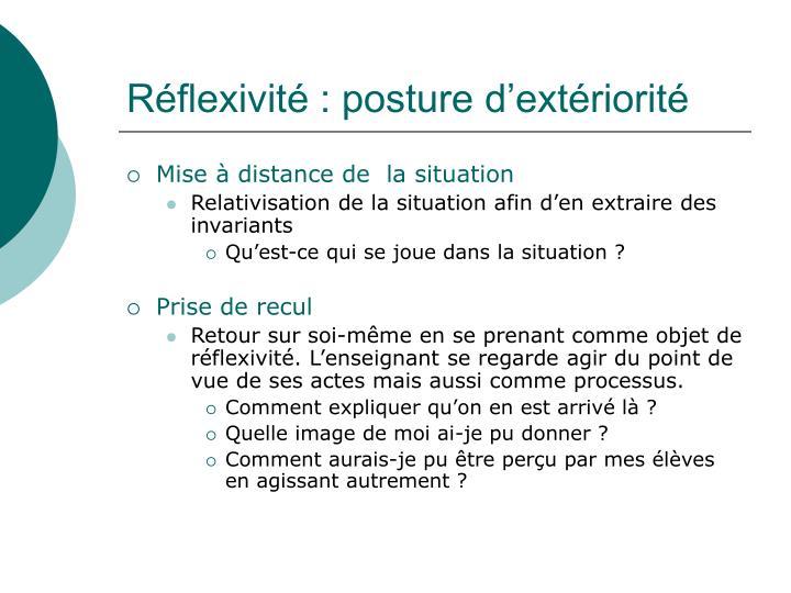 Réflexivité : posture d'extériorité