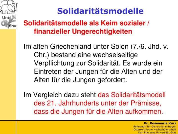 Solidaritätsmodelle als Keim sozialer / finanzieller Ungerechtigkeiten