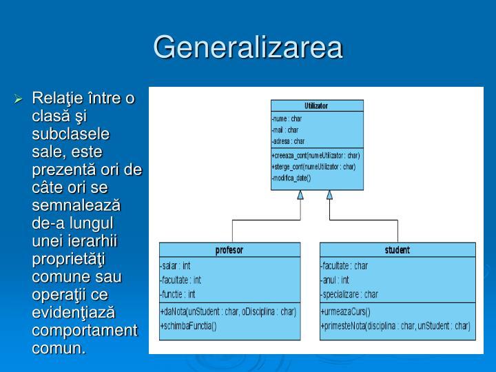 Generalizarea