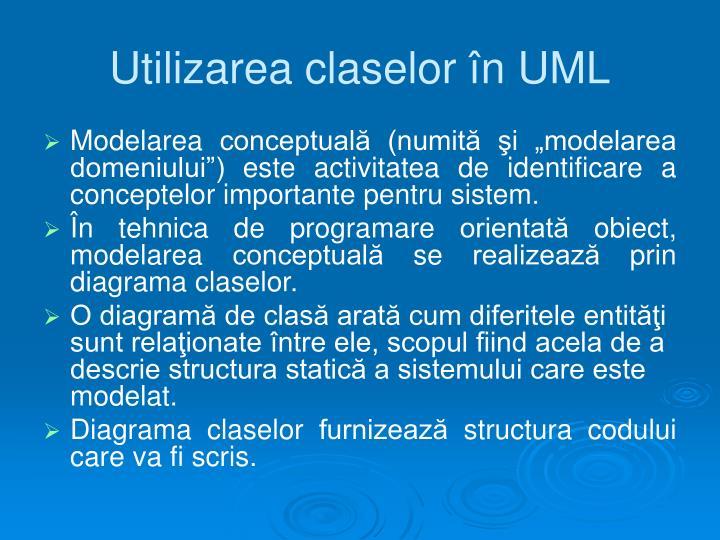 Utilizarea claselor în UML