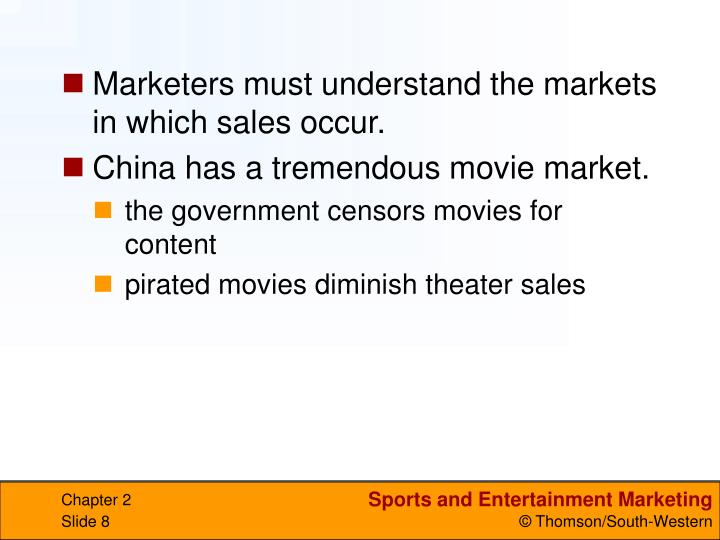 Marketers must understand the markets in which sales occur.