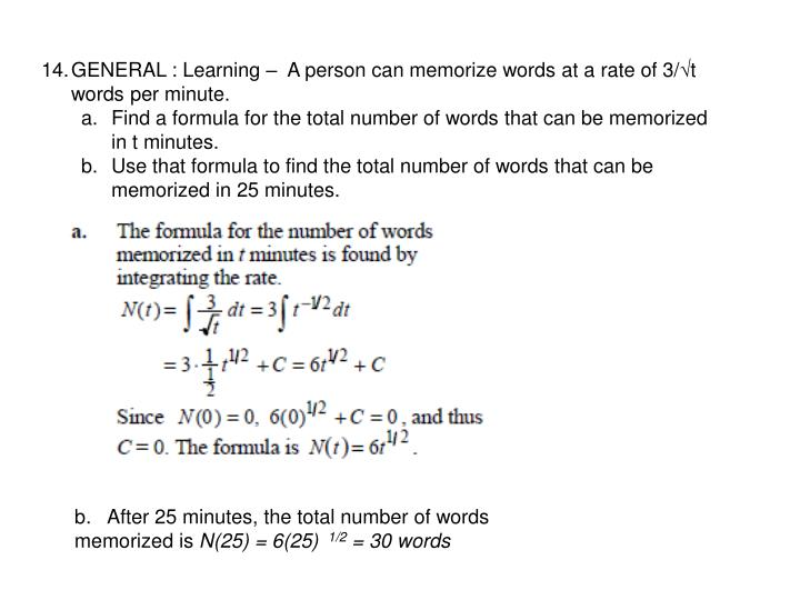 GENERAL : Learning –  A person can memorize words at a rate of 3/