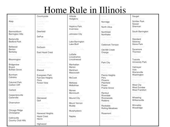 Home Rule in Illinois