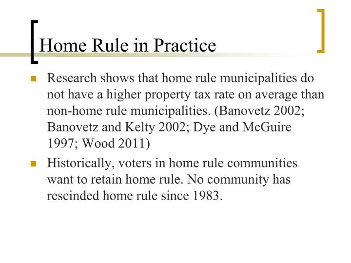 Home Rule in Practice