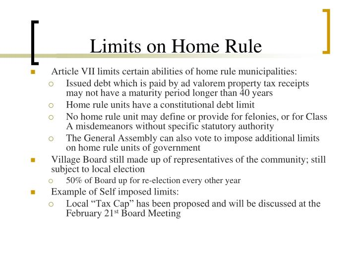 Limits on Home Rule