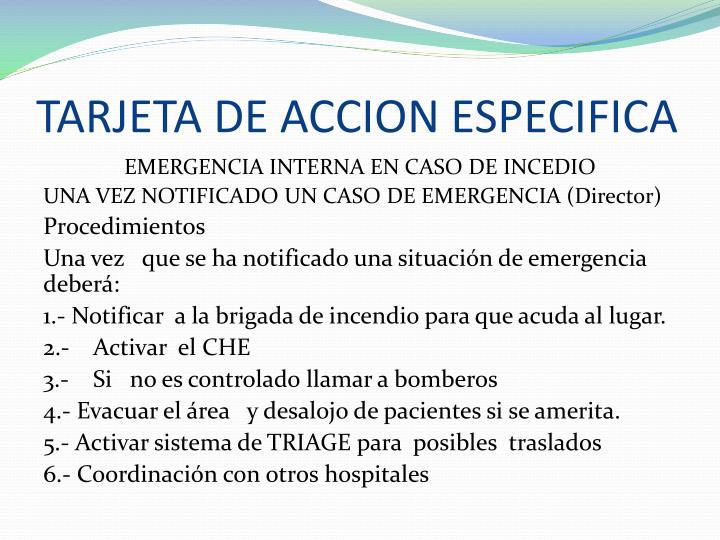 TARJETA DE ACCION ESPECIFICA