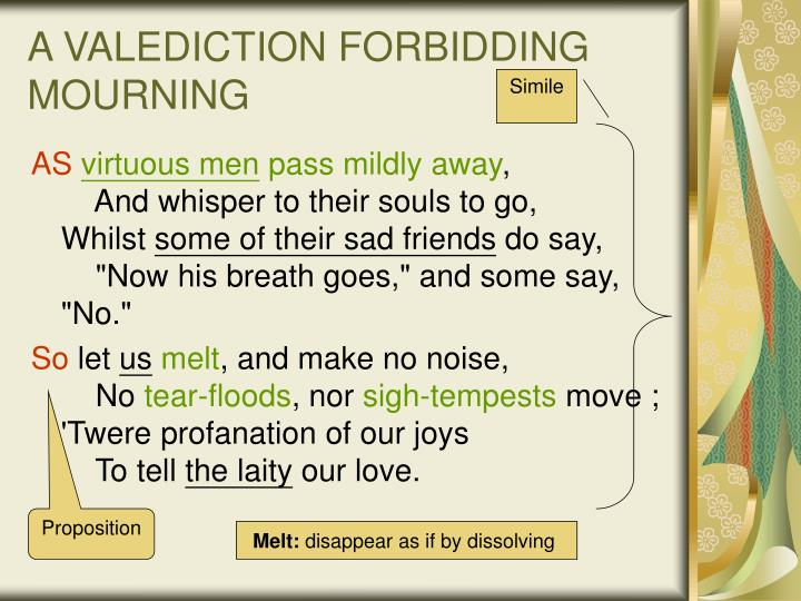 a valediction forbidding mourning Complete summary of john donne's a valediction: forbidding mourning enotes  plot summaries cover all the significant action of a valediction: forbidding.