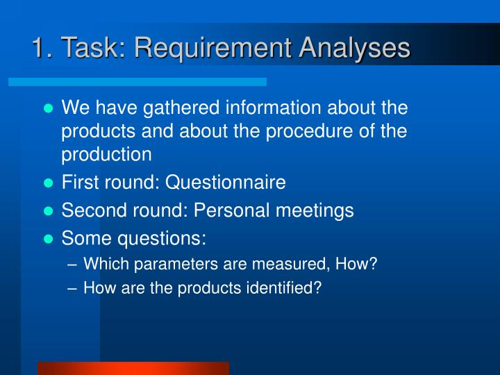 1. Task: Requirement Analyses