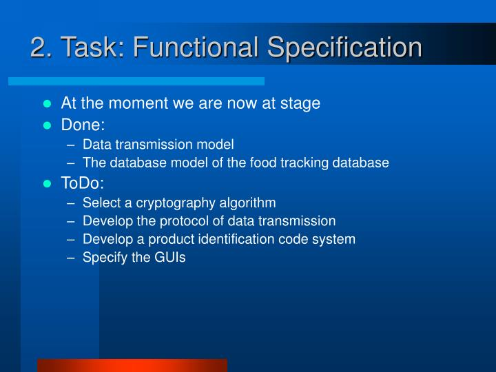 2. Task: Functional Specification