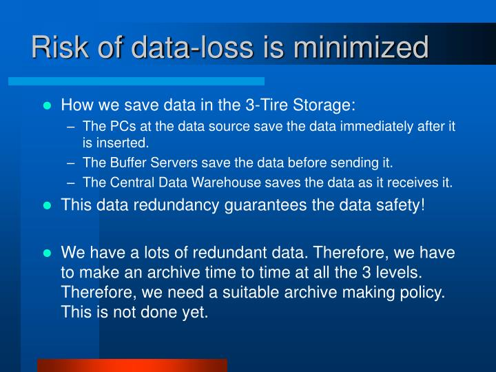 Risk of data-loss is minimized