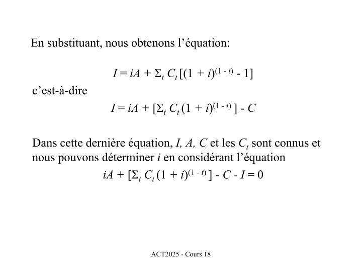 En substituant, nous obtenons l'équation: