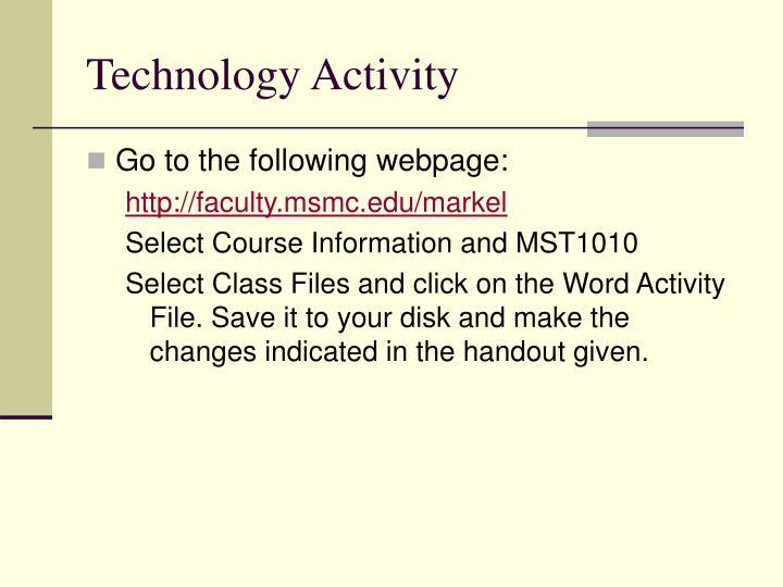 Technology Activity