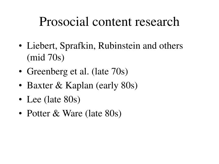 Prosocial content research