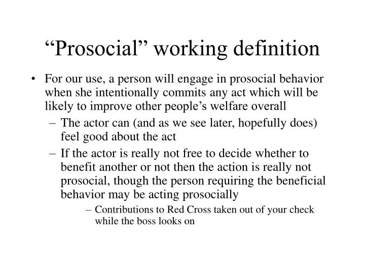 Prosocial working definition
