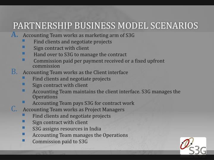 Partnership business model scenarios