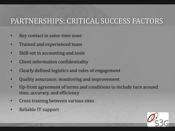 Partnerships: critical success factors