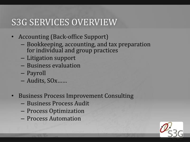 S3G services overview