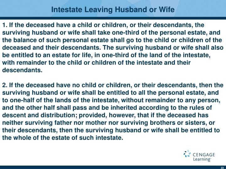 Intestate Leaving Husband or Wife