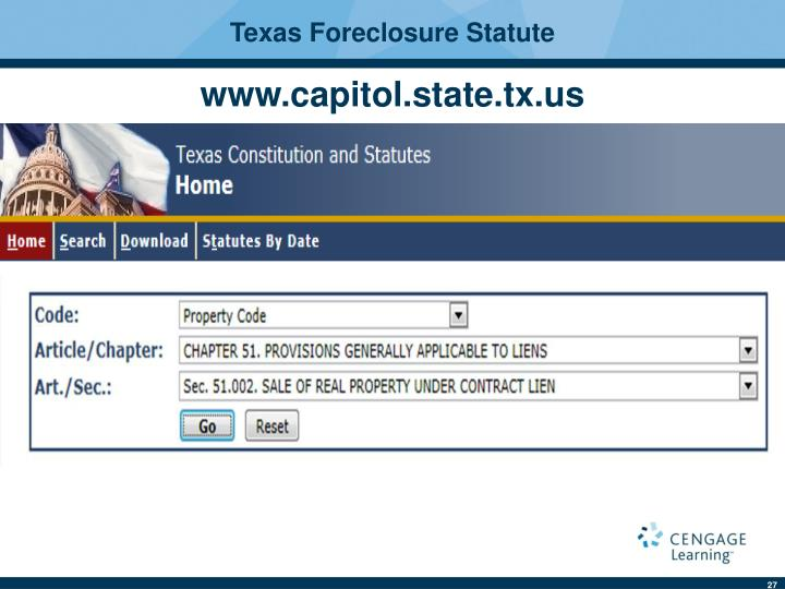 Texas Foreclosure Statute