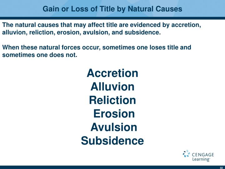 Gain or Loss of Title by Natural Causes