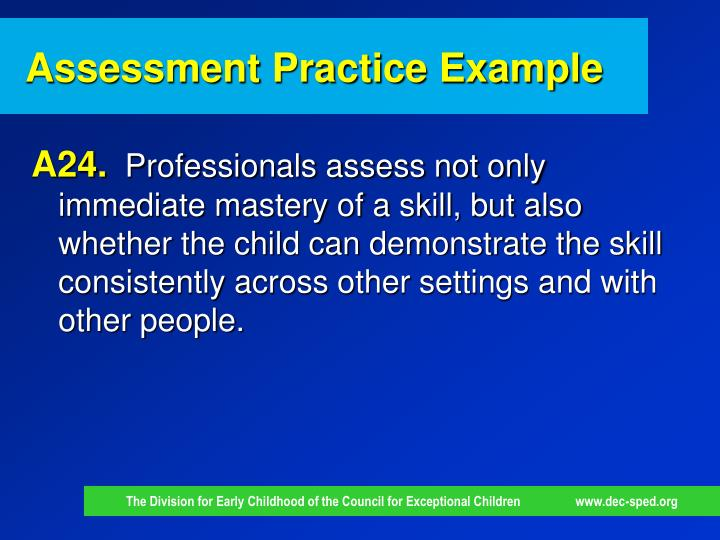 Assessment Practice Example