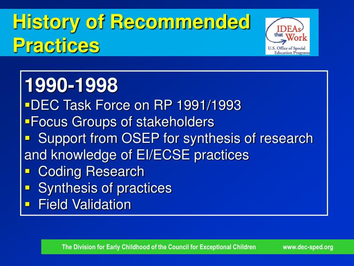 History of Recommended Practices