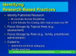 identifying research based practices