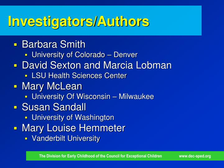 Investigators/Authors