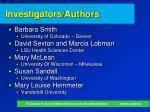 investigators authors