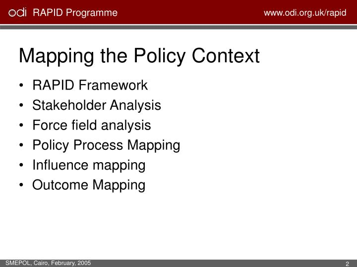 Mapping the Policy Context