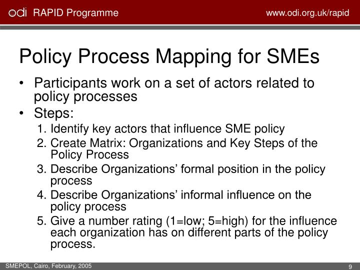 Policy Process Mapping for SMEs