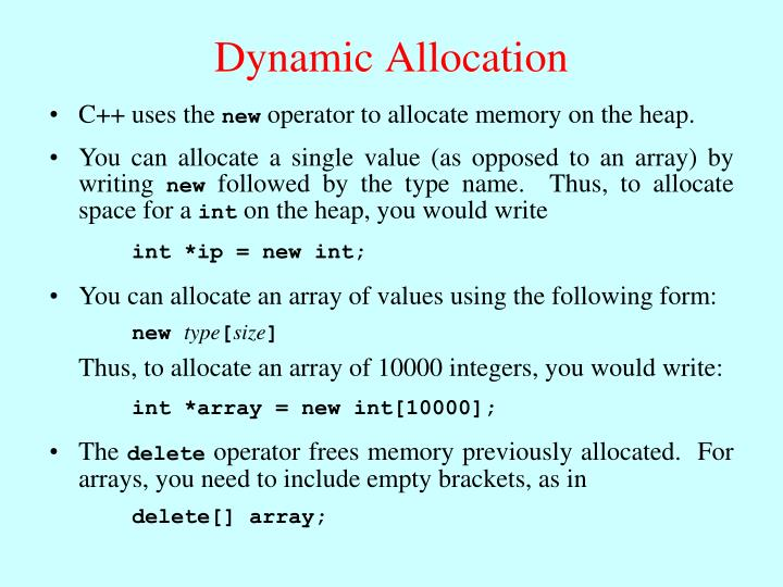 Dynamic allocation1