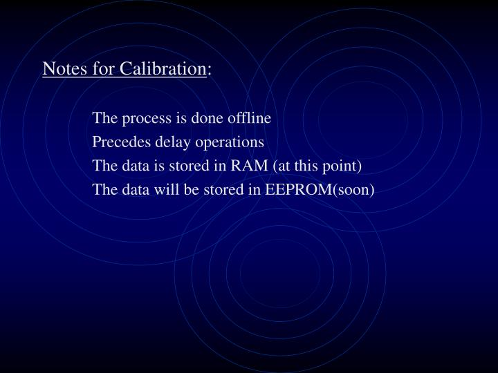 Notes for Calibration