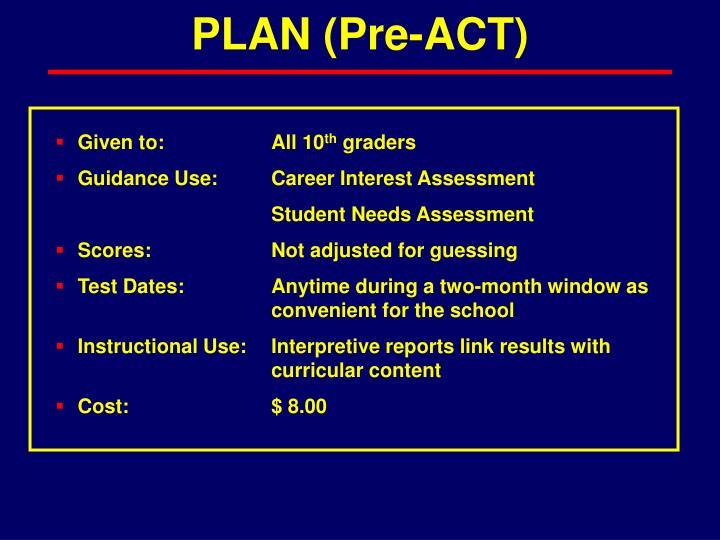 PLAN (Pre-ACT)