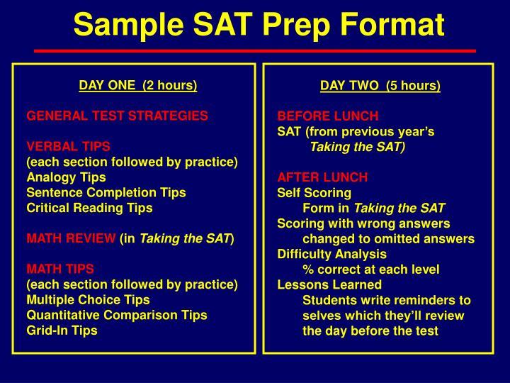 Sample SAT Prep Format