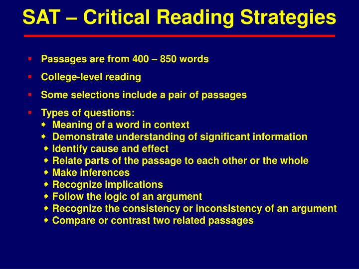 SAT – Critical Reading Strategies