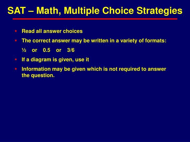 SAT – Math, Multiple Choice Strategies