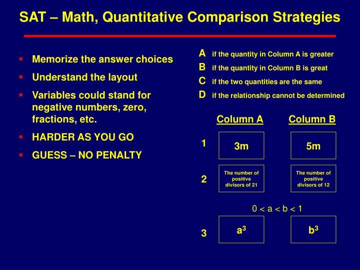 SAT – Math, Quantitative Comparison Strategies