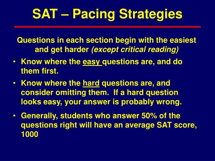SAT – Pacing Strategies