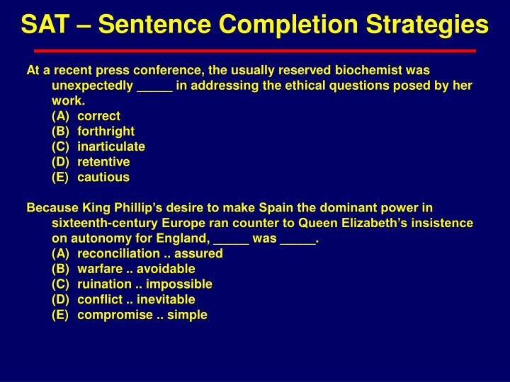 SAT – Sentence Completion Strategies