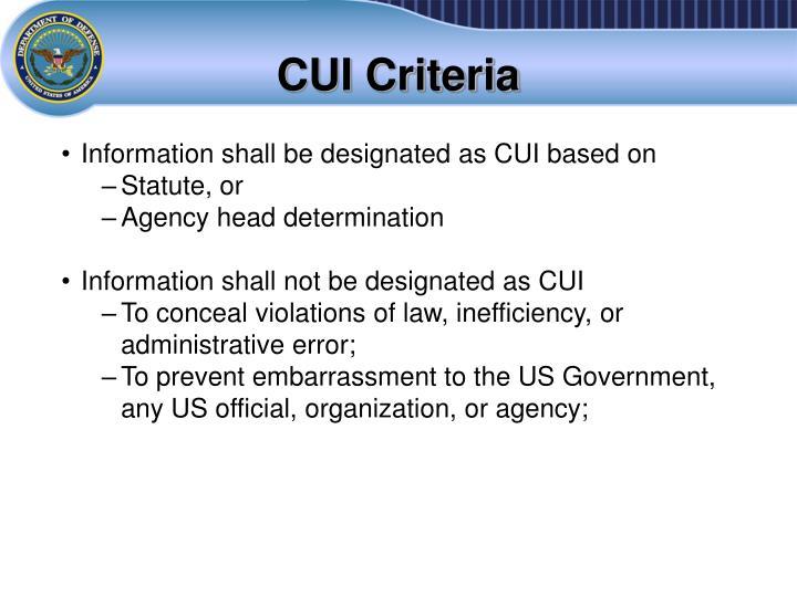 CUI Criteria