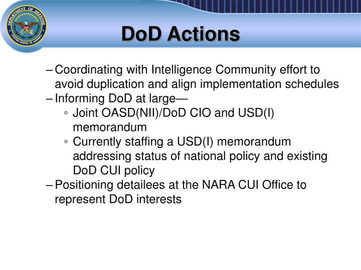 DoD Actions