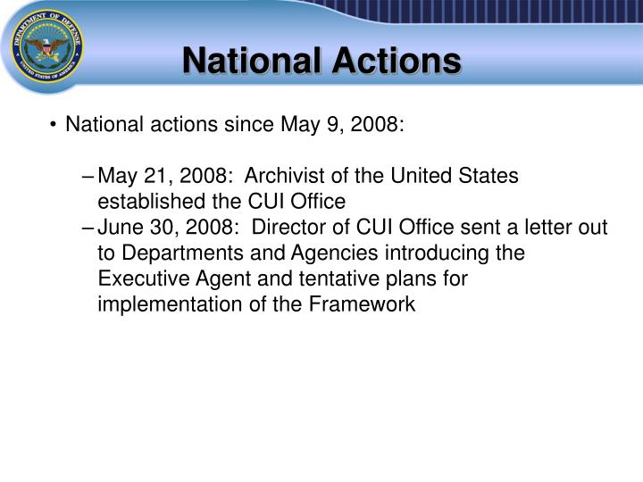 National Actions
