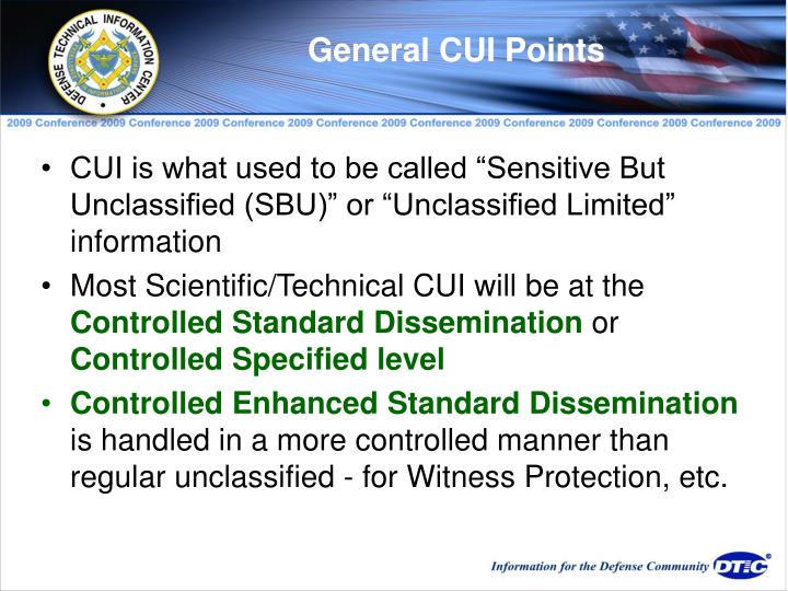 General CUI Points