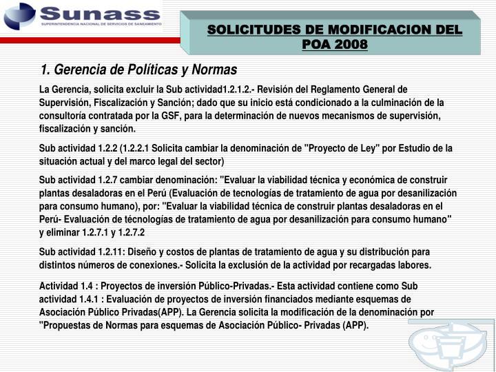SOLICITUDES DE MODIFICACION DEL POA 2008