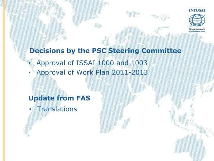 Decisions by the psc steering committee