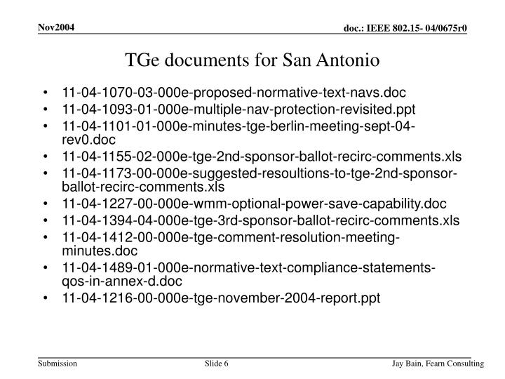 TGe documents for San Antonio