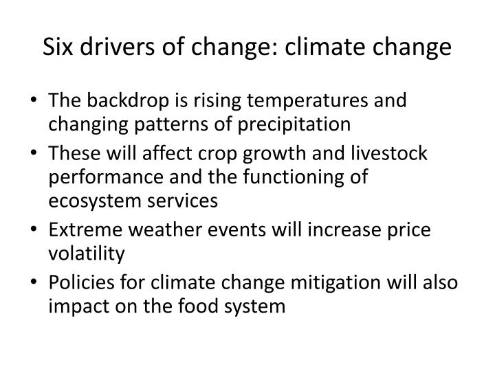 Six drivers of change: climate change