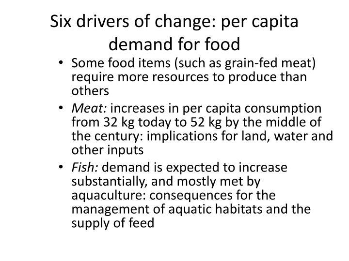 Six drivers of change: per capita demand for food