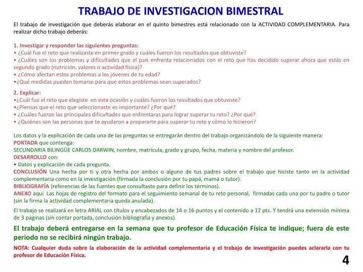 TRABAJO DE INVESTIGACION BIMESTRAL